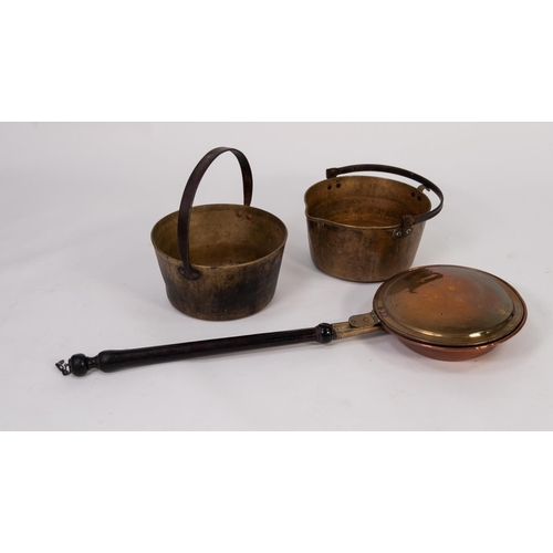 33 - ANTIQUE COPPER AND BRASS BED PAN WITH TURNED WOOD HANDLE, together wit TWO BRASS JAM PANS with wroug...