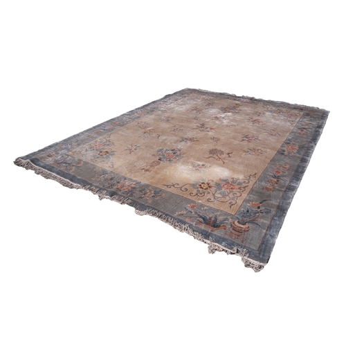 2 - WASHED CHINESE SILKY PILE EMBOSSED CARPET with all-over design of floral sprays and with floral span...