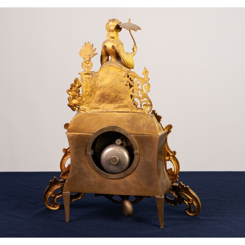 9 - MID 19th CENTURY FRENCH CAST ORMOLU MANTEL CLOCK with Japy eight day movement striking on a bell, th...