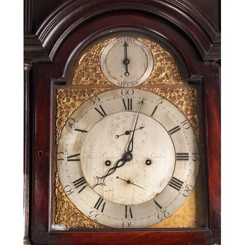 10 - THOMAS PERCIVAL, LONDON, GEORGE III FIGURED DARK MAHOGANY LONG CASED CLOCK with eight day striking m...