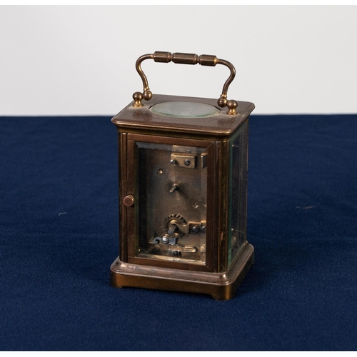 11 - LATE 19th CENTURY GILT BRASS AND BEVELLED PLATE GLASS CARRIAGE CLOCK with Roman dial inscribed J Bag...