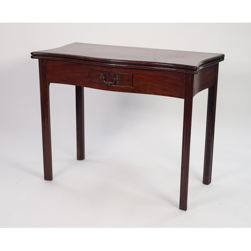 58 - GEORGE III SERPENTINE FRONTED MAHOGANY TEA TABLE, the shaped, fold-over top above a small cockbeaded...