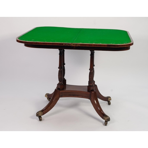59 - REGENCY COROMANDEL CROSSBANDED AND LINE INLAID ROSEWOOD PEDESTAL CARD TABLE, the 'D' shaped swivel a...