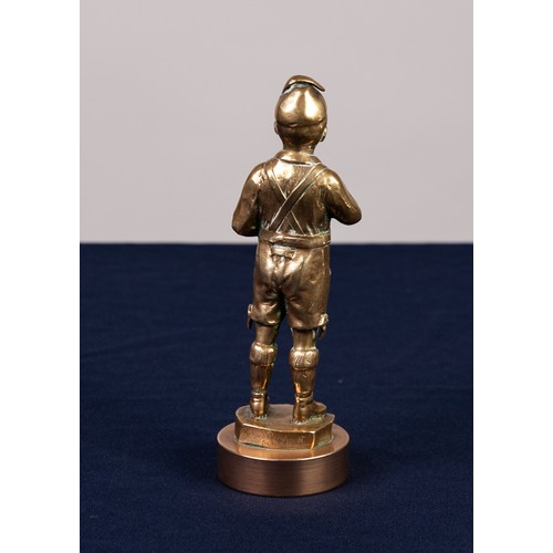 25 - RICHARD BERNHARDT EARLY 20th CENTURY HEAVY CAST BRASS FIGURE OF A BOY in Tyrolean costume about to l...