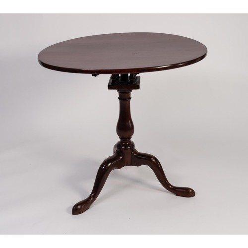 53 - LATE GEORGIAN MAHOGANY REVOLVING TRIPOD OCCASIONAL TABLE, the circular top with birdcage support, ab...