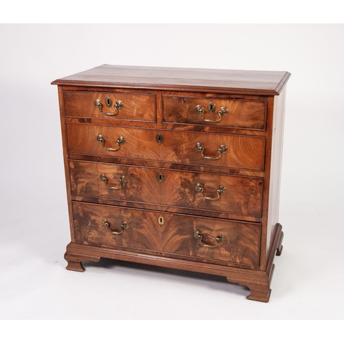 57 - GEORGIAN FIGURED MAHOGANY CHEST OF DRAWERS OF SMALL PROPORTIONS, the moulded oblong top above two sh...