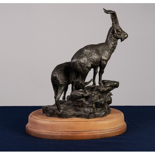 33A - IN THE MANNER OF MOIGNIEZ EARLY 20th CENTURY LIMITED EDITION BRONZE GROUP BILLY GOAT ABOVE A NANNY G...