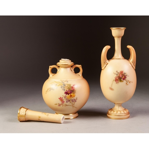 44 - ROYAL WORCESTER TWO HANDLED BLUSH CHINA PEDESTAL VASE, of ovoid form with tall loop handles flanking...