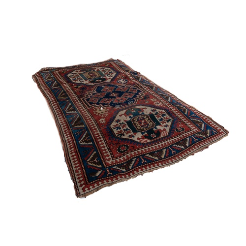 16 - SEMI ANTIQUE SHIRVAN CAUCASIAN LARGE RUG, with large centre medallion, with stepped sides Royal blue...