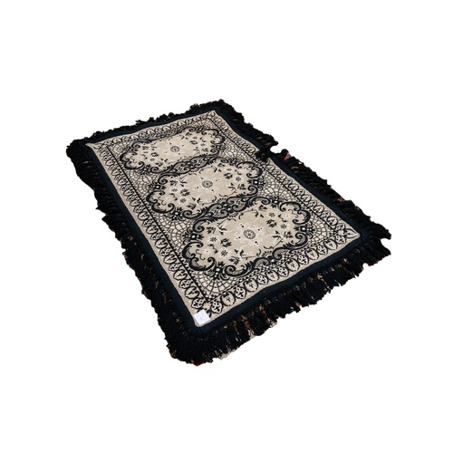 12 - CASA PUPO STYLE FLAT WEAVE GREY RUG, with three oval panels in black rococo scroll frames, enclosing...