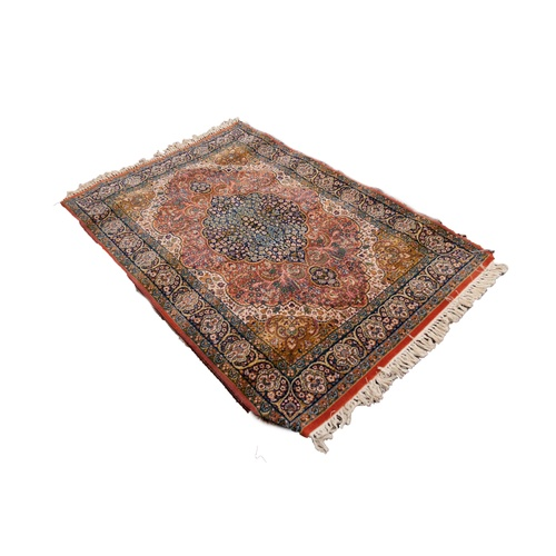 13 - BELGIUM PURE NEW WOOL PILE EXTRA HEAVY QUALITY BORDERED RUG, of Kashan Persian design 5'8