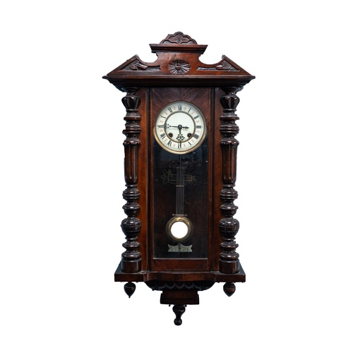 "46 - EARLY TWENTIETH CENTURY WALNUT CASED VIENNA WALL CLOCK, the 5 ¼"" two part dial powered by a movement..."