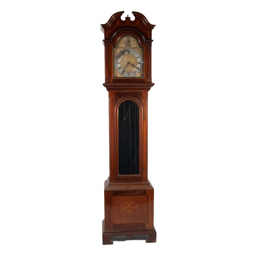 """47 - EDWARDIAN INLAID MAHOGANY LONGCASE CLOCK, the 9 ½"""" brass dial with silvered chapter ring, matted cen..."""