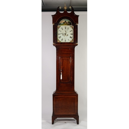 "49 - GEORGE III LINE INLAID MAHOGANY LONGCASE CLOCK SIGNED VINCENT, BATH, the 12"" painted dial with subsi..."