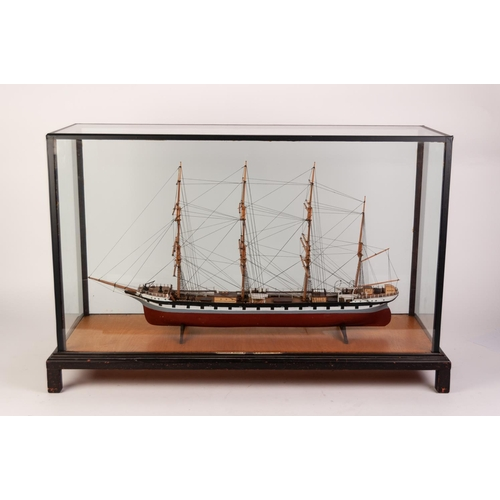 56 - WELL MADE PAINTED WOOD MODEL OF TALL SHIP ARCHIBALD RUSSELL modelled by H Spencer 1948 approximately...