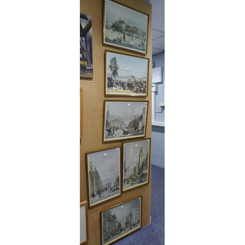 """144 - SET OF SIX MODERN REPRODUCTION COLOUR PRINTS Bygone London street scenes <br />19"""" x 12 ½"""" approxima..."""