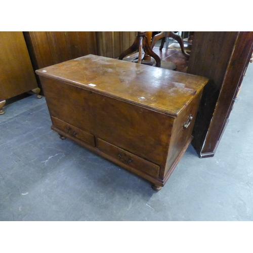 197 - 19TH CENTURY MAHOGANY CHEST WITH LIFT-UP TOP, TWO DRAWERS BELOW, END BRASS HANDLES...