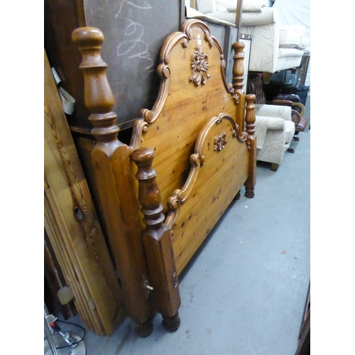 """199 - A MODERN CARVED PINE 4'6"""" PANEL BEDSTEAD, WITH SLATTED WOOD BASE..."""