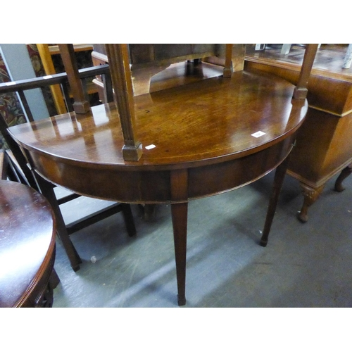 211 - NINETEENTH CENTURY MAHOGANY DEMI-LUNE LARGE SIDE TABLE, RAISED ON SQUARE FLUTED SUPPORTS...