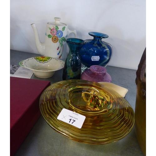 17 - CERAMICS AND GLASS, CLARICE CLIFF SMALL COFFEE POT, (a/f), GOEBEL MILK JUG, THREE MDINA GLASS VASES,...
