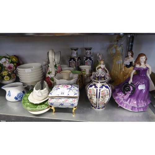 23 - TWO LEONARDO CHINA CRINOLINE FIGURE; TWO OTHER FIGURES AND MISC CHINA VASES, CUPS AND SAUCERS ETC......