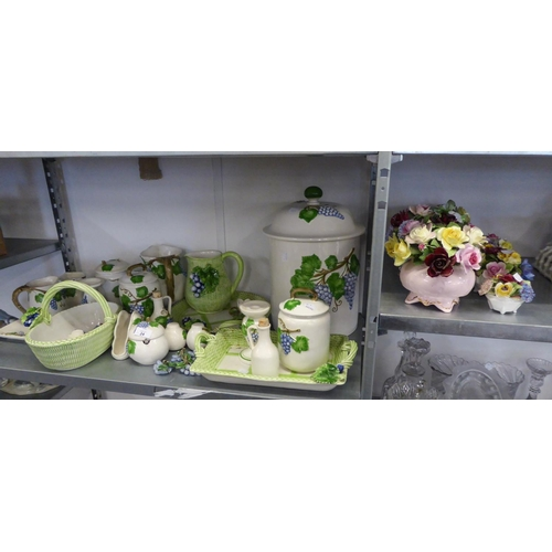 24 - FOUR COALPORT, AYNSLEY ETC... CHINA POSY ORNAMENTS AND ITALIAN VINE EMBOSSED POTTERY ITEMS...