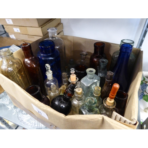 25 - COLLECTION OF VINTAGE GLASS BOTTLES, some coloured and a few with stoppers, contents of a small box...