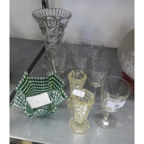 38 - A GREEN AND WHITE GLASS 'HANDKERCHIEF' BOWL; DRINKING GLASSES AND MISCELLANEOUS GLASS WARES...