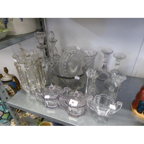 40 - A VICTORIAN CUT GLASS TABLE LUSTRE (ONE DROP A.F.), A PAIR OF PRESSED GLASS CELERY VASES, TWO VICTOR...