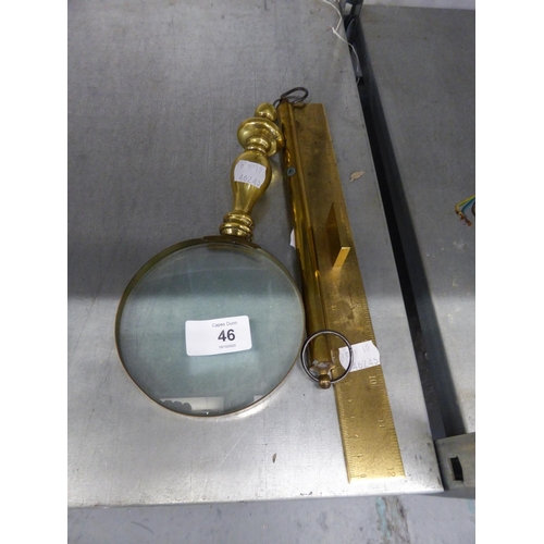 46 - SALTER'S BRASS SPRING BALANCE TO WEIGH SILVER IN TROY OUNCES; 9 SCALE RULERS; A CHINESE BRASS ONE FO...