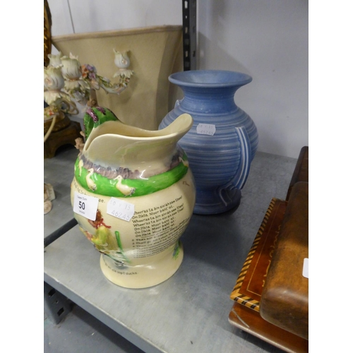 50 - CROWN DEVON POTTERY MUSICAL JUG 'ON ILKLA MOOR BAHT'AT' AND AN ART DECO PALE BLUE TWO HANDLED RIBBED...