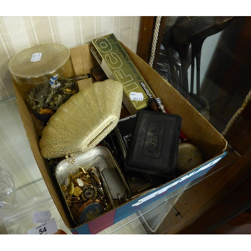 6 - SMALL SELECTION OF COSTUME JEWELLERY AND MINOR VALUE COLLECTABLES, INCLUDING; JAPANESE FOLDING 'SPOR...