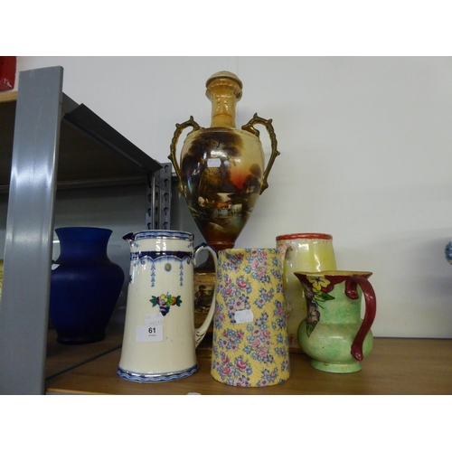 61 - A LARGE LATE VICTORIAN TWO HANDLED POTTERY ON STAND WITH FOUR VARIOUS POTTERY LARGE JUGS (5)...