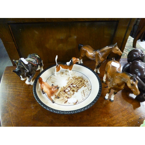 123B - BESWICK POTTERY MODEL OF A FOX AND A HOUND, together with SIMILAR MODELS OF HORSES, not Beswick, and...