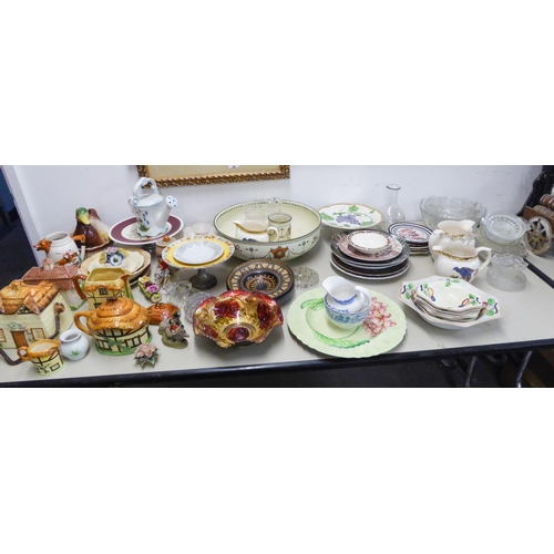 123G - CERAMICS AND GLASS, MIXED LOT, to include: ROYAL DOULTON TOILET BOWL, COTTAGE PATTERN SWING HANDLE B...