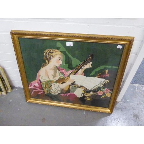 137 - PICTORIAL NEEDLEWORK TAPESTRY, LADY IN PERIOD DRESS SEATED PLAYING A LUTE, 19 1/2IN X 25IN (49.5 X 6...