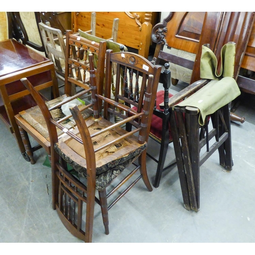 165 - TWO TALBOT ARTS & CRAFTS SINGLE CHAIRS AND VARIOUS OTHER CHAIRS (8)...