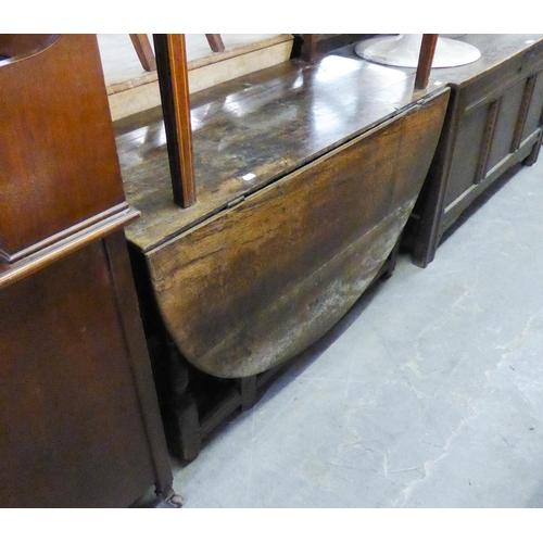 174 - AN EIGHTEENTH CENTURY OAK GATE-LEG DINING TABLE AND ANOTHER OAK GATE-LEG DINING TABLE ON SPIRAL LEGS...