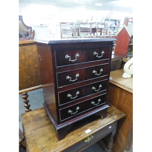 186 - MAHOGANY REPRODUCTION SMALL CHEST OF FOUR DRAWERS ON BRACKET FEET...