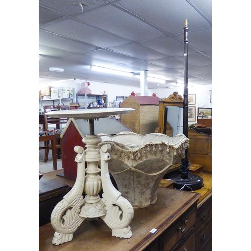 187 - MAHOGANY TURNED WOOD STANDARD LAMP AND SHADE ANDA WHITE PAINTED PIANO STOOL ON TRIPOD LEGS (2)...