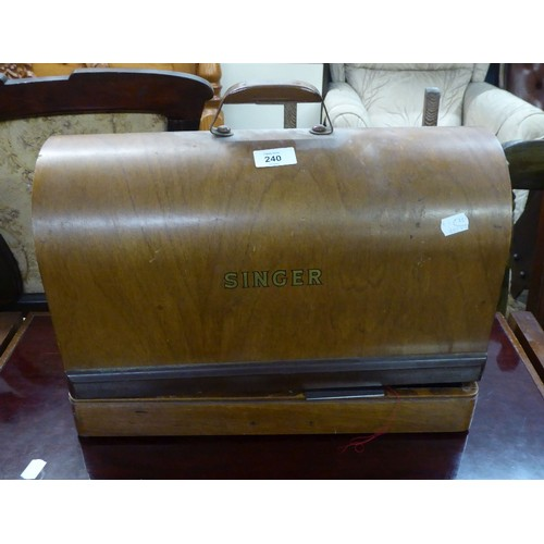 240 - A VINTAGE SEWING MACHINE, IN DOME TOP CASE, locked, no key...