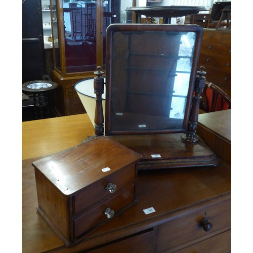 247 - VICTORIAN MAHOGANY TOILET MIRROR AND A TWO DRAWER TRINKET CHEST (2)...