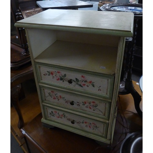 237 - A STAINED BEECH STANDARD LAMP AND A 3 DRAWER PAINTED CHEST (2)...