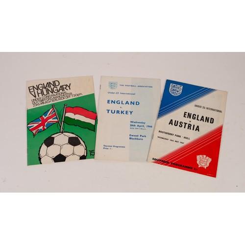 30 - THREE ENGLAND UNDER 23s PROGRAMMES, v Turkey Ewood Park 1966, v Austria Boothferry Park Hull 1967, a...