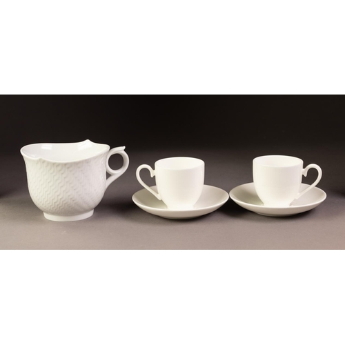 37 - MODERN MEISSEN 'WAVES' PATTERN WHITE PORCELAIN BREAKFAST CUP, together with a PAIR OF MODERN VILLERO...