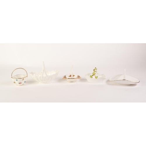39 - FIVE MODERN ENGLISH CHINA SMALL BASKETS, COALPORT, white glazed, SPODE, 'Billingsley Rose Spray', RO...