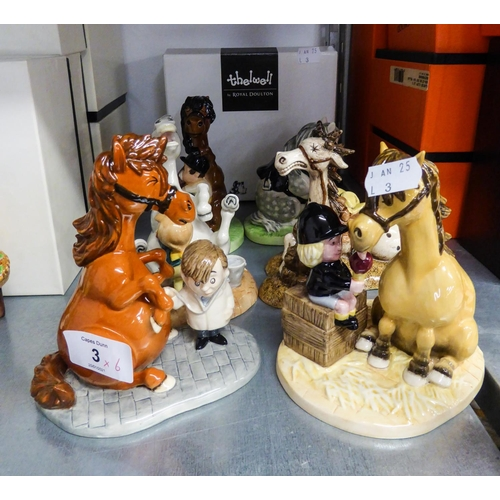 3 - SIX MODERN ROYAL DOULTON 'THELWELL' NUMEROUS FIGURINES (6)...