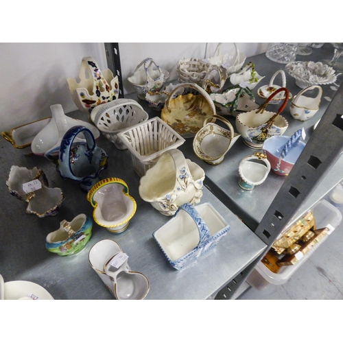 38 - COLLECTION OF MOSTLY MODERN CONTINENTAL AND FOREIGN CERAMIC SMALL BASKETS, including a K.P.M. WHITE ...