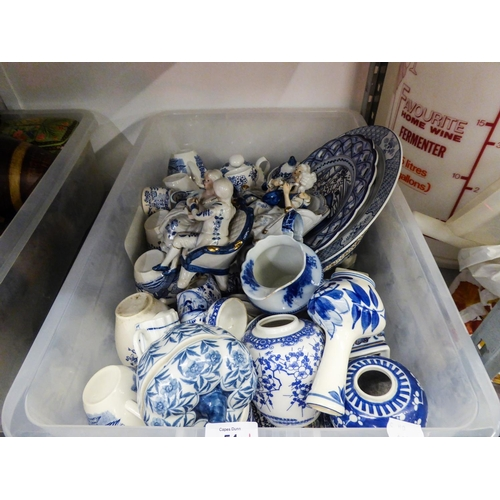 54 - A SELECTION OF BLUE AND WHITE POTTERY, TO INCLUDE; GINGER JARS, FIGURES, RACK PLATES, CUPS ETC.........