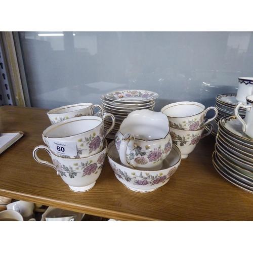 60 - A PARAGON FINE BONE CHINA 'CHRYSANTHEMUM' PATTERN TEA SERVICE FOR SIX PERSONS, 21 PIECES VIZ 6 CUPS,...